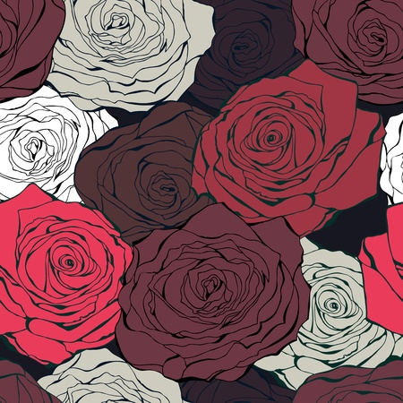 Vintage background from hand drawn roses on a dark