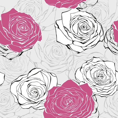whimsical pattern: Love background from hand drawn roses valentine