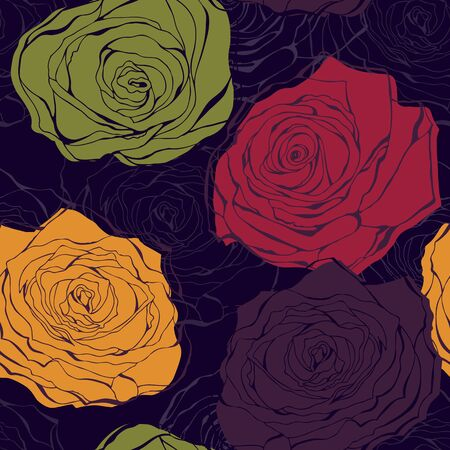 Vintage background from hand drawn roses in retro style Vector