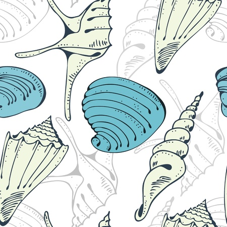 oceanside: Seamless cheerful vector pattern with seashell