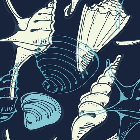 shell pattern: Seamless marine shell pattern | vector illustration