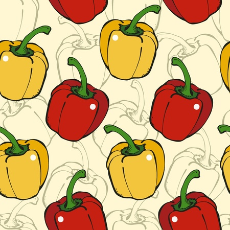 Seamless background from red and yellow pepper on a beige Vector