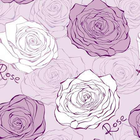 whimsical pattern: Love pink background from hand drawn roses valentine Illustration