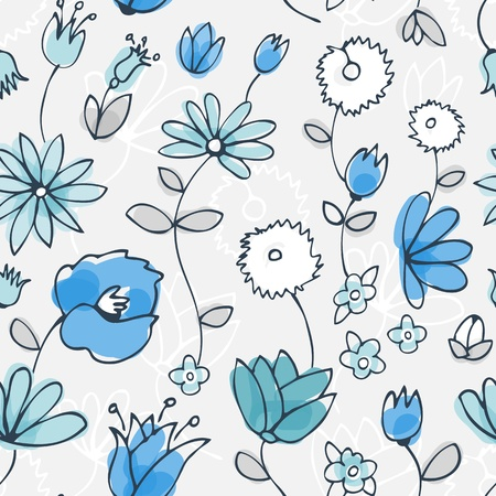 Seamless background from blue white green flowers and leafs