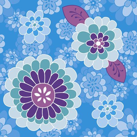 Funny small and large floral on blue background. Vintage inspired blue, green and purple flowers. Ideal for fabric | Vector illustration Vector