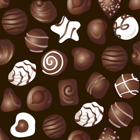 A lot of different delicious chocolates on a dark brown background | Seamless vector wallpaper Illustration