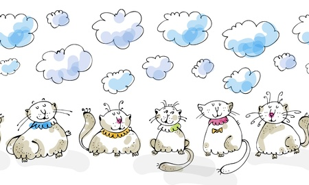 Vector curly cats with closed eyes sitting under the clouds
