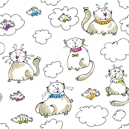 Dreaming cats and fish and clouds | Vector illustration Illustration