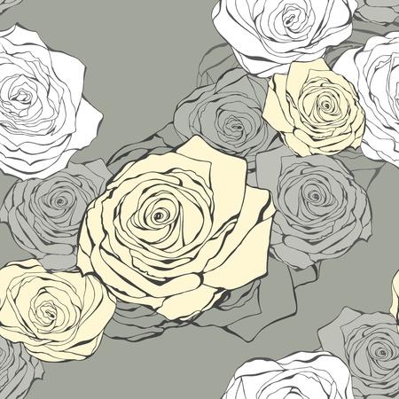rosas negras: De fondo sin fisuras de dibujado a mano rosas de un color gris
