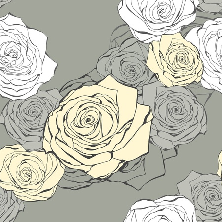 Seamless background from hand drawn roses on a grey Vector
