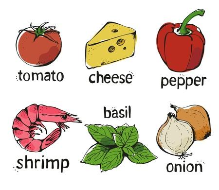 basilico: Conjunto de vectores de color de Pizza aisladas sobre fondo blanco
