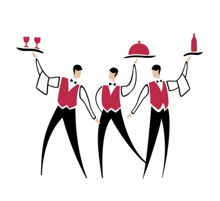 delivery room: Vector cartoon waiters with dish bottle and wine