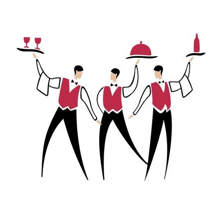 camarero: Vector de dibujos animados camareros con botella de plato y el vino