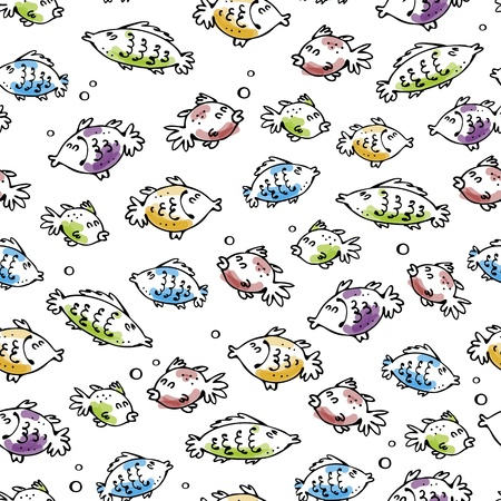 textile background: Vector seamless background with cartoon fishes and bubbles
