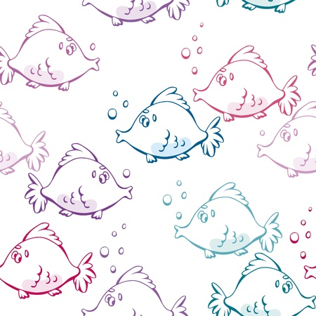 Vector seamless pattern from cartoon fishes and bubbles