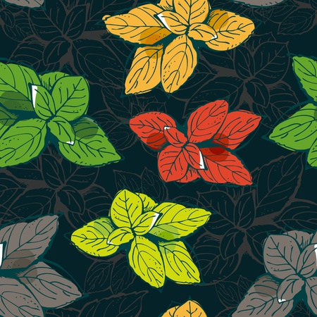 basil leaf: Vector seamless pattern from color leafs on a dark brown