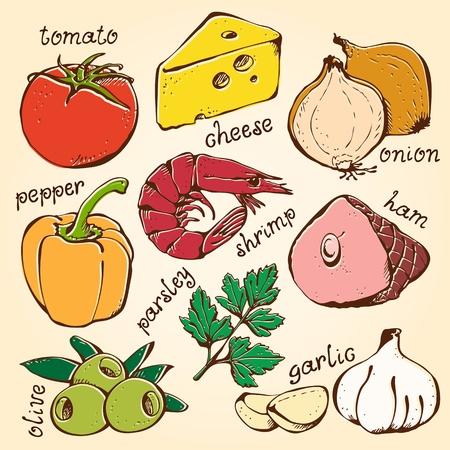 참 새우: 베이지 색 배경에 음식 세트 피자 재료
