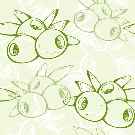 Background from hand-drawn green olives and leafs with scribbles Vector
