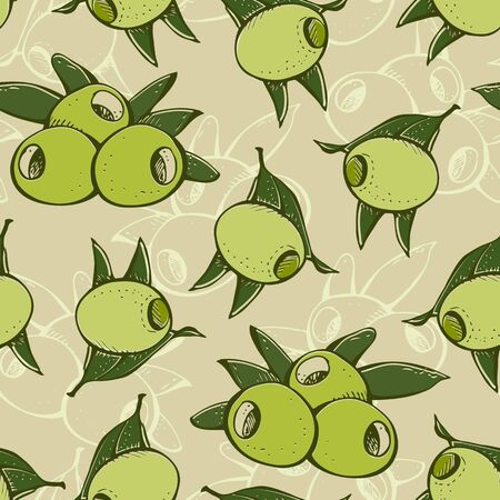 Background from branches green olives and leafs Vector