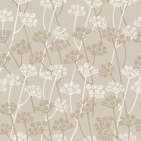 Elegance background with branches flowers on a beige Vector