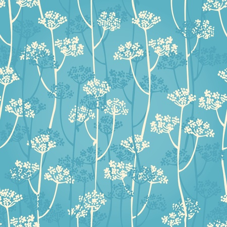 background from flower branch on a blue Illustration