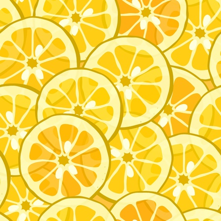 pattern with yellow lemon and orange Vector