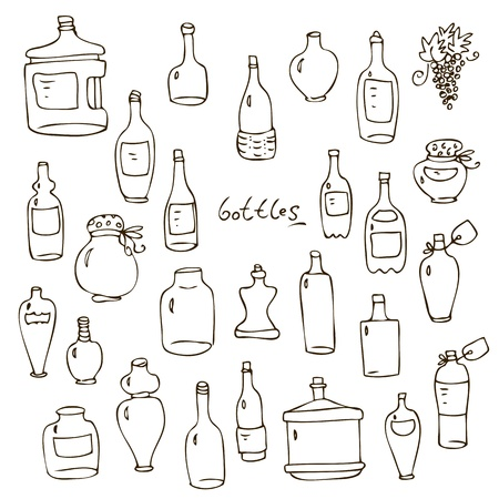 Set from hand-drawn wine beer water glass bottles Illustration