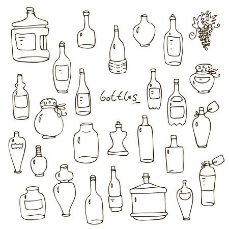 brandy: Set from hand-drawn wine beer water glass bottles Illustration
