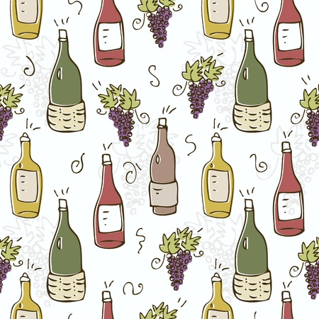 Wine seamless pattern with bottles and grapes Illustration