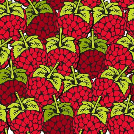 Raspberry seamless background with ripe red berries