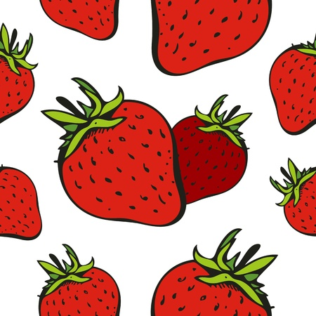 Vector seamless pattern with ripe strawberry on a white