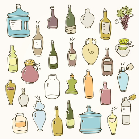 Set of glass and plastic bottles and pots Illustration