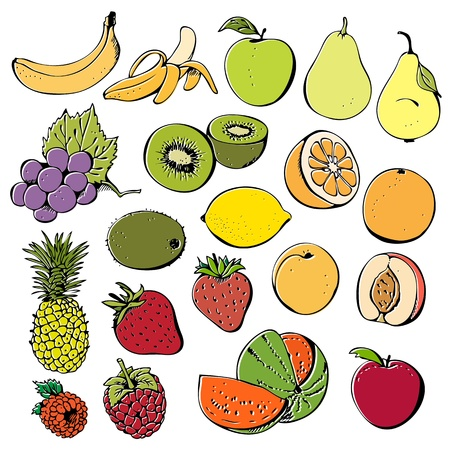 Fruit and berry set isolated on a white background