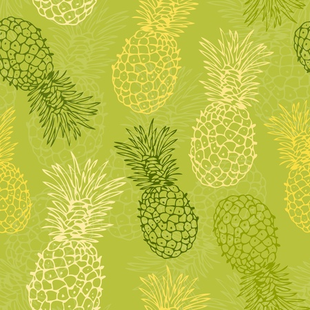 ananas: Vector seamless background with pineapple Illustration