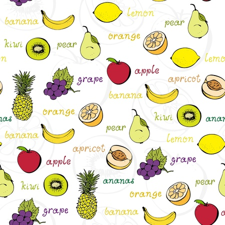 Vector background from fruits and berries on a white