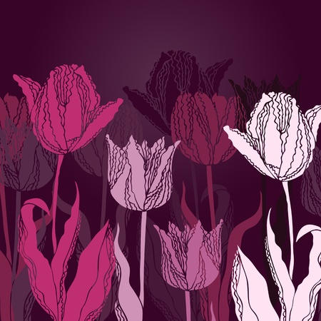 violet red: Vector floral background with tulips