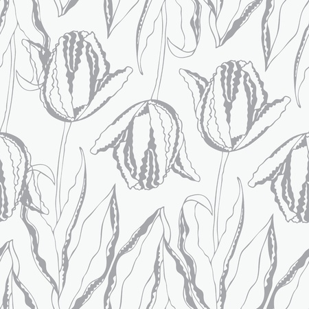 Seamless vector pattern with curl hand-drawn tulips Vector