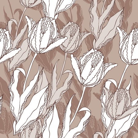 Vector floral seamless background with the hand-drawn tulips Illustration