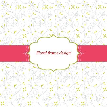 Frame design on a floral leaf baby background