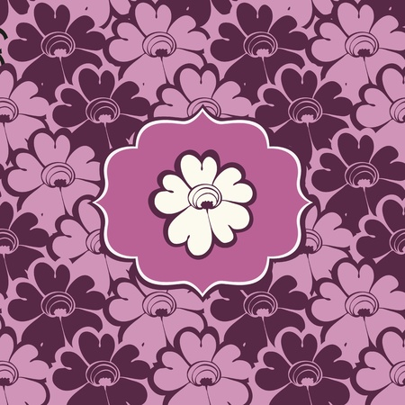 Vector pattern with pink flowers and frame Stock Vector - 12470061