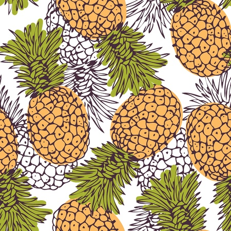 Vector seamless pattern with the hand-drawn pineapples Illustration
