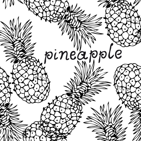 Vector seamless background with the hand-drawn pineapples