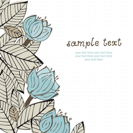 Illustration with flowers and leafs with text Illustration