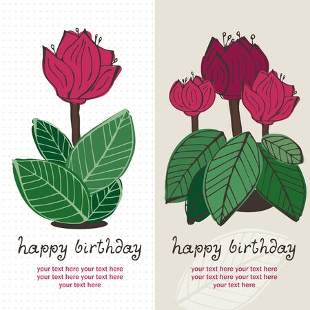 Flower greeting card with hand-drawn cyclamen and text Stock Vector - 12470068