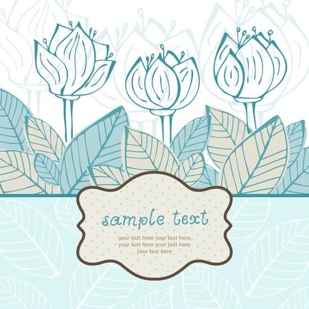 Tarjeta de felicitación con flores y hojas y el marco Ilustración de vector