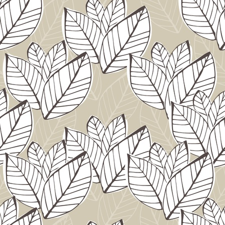 Vector seamless beige background with leafs Vector