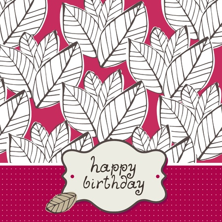 Greeting card with leafs on a pink background Illustration