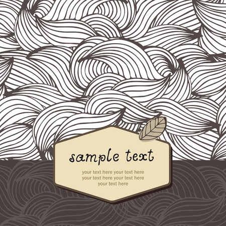 Abstract brown waves background with text frame