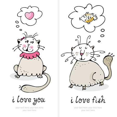 Vector illustration cats in love greeting card Stock Vector - 12470072