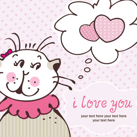 Cat in love on pink card with frame